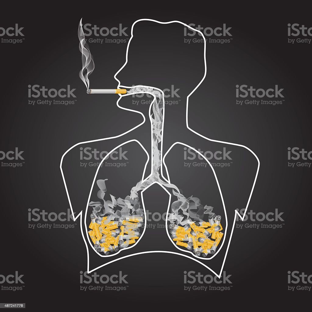 smoking is dangerous vector art illustration