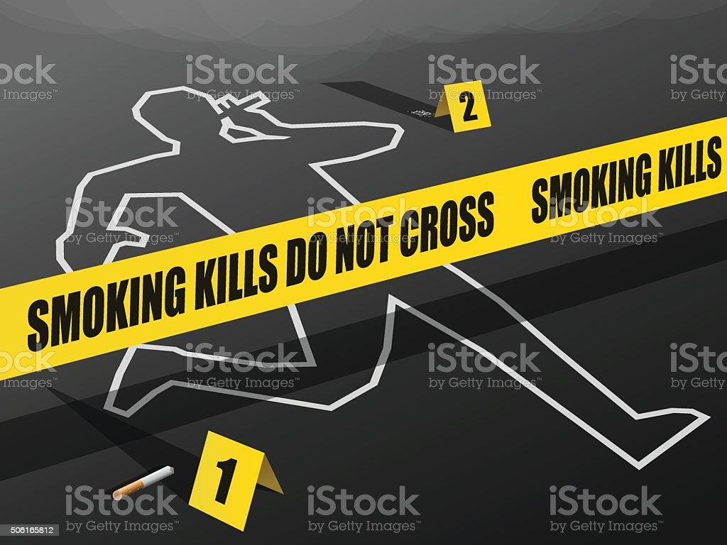 Smoking Kills-Do not Cross vector art illustration