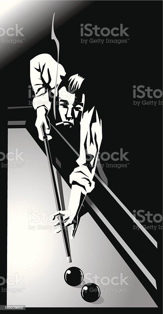 smoking man playing billiards vector art illustration