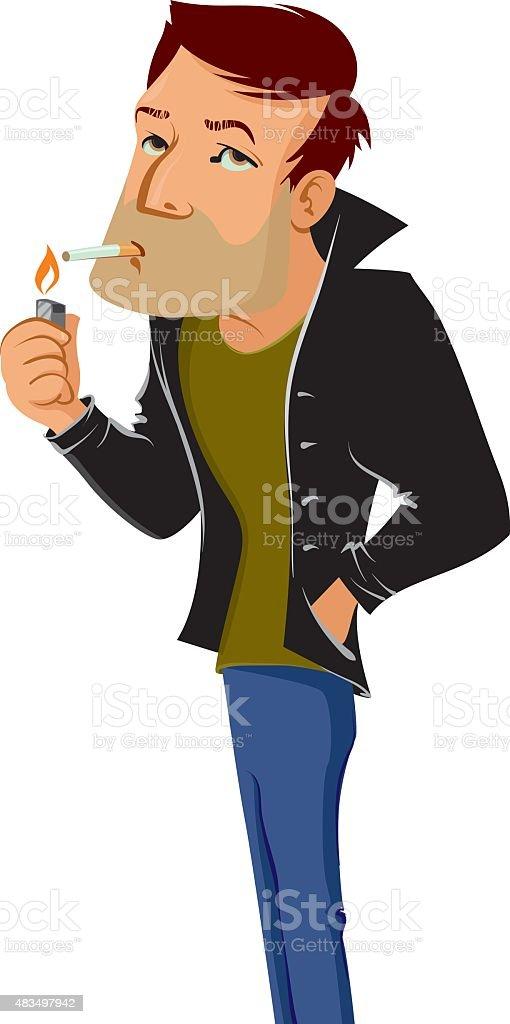 smoking man vector art illustration