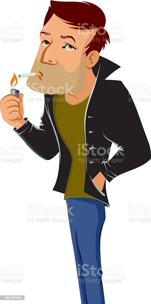 smoking man vector art illustration
