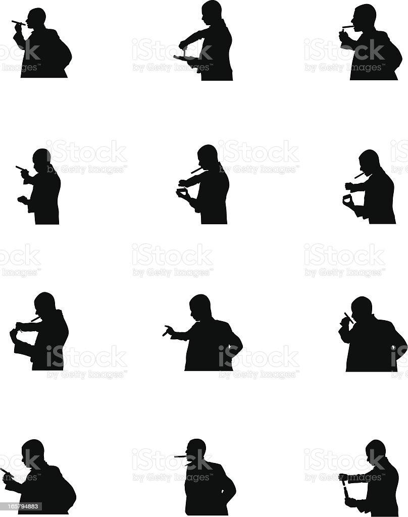 Smoking Men vector art illustration