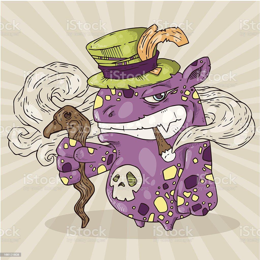 smoking monster royalty-free stock vector art