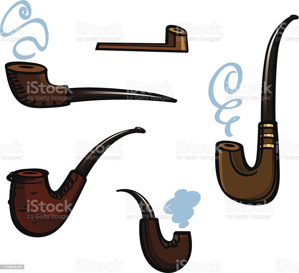 Smoking pipes vector art illustration