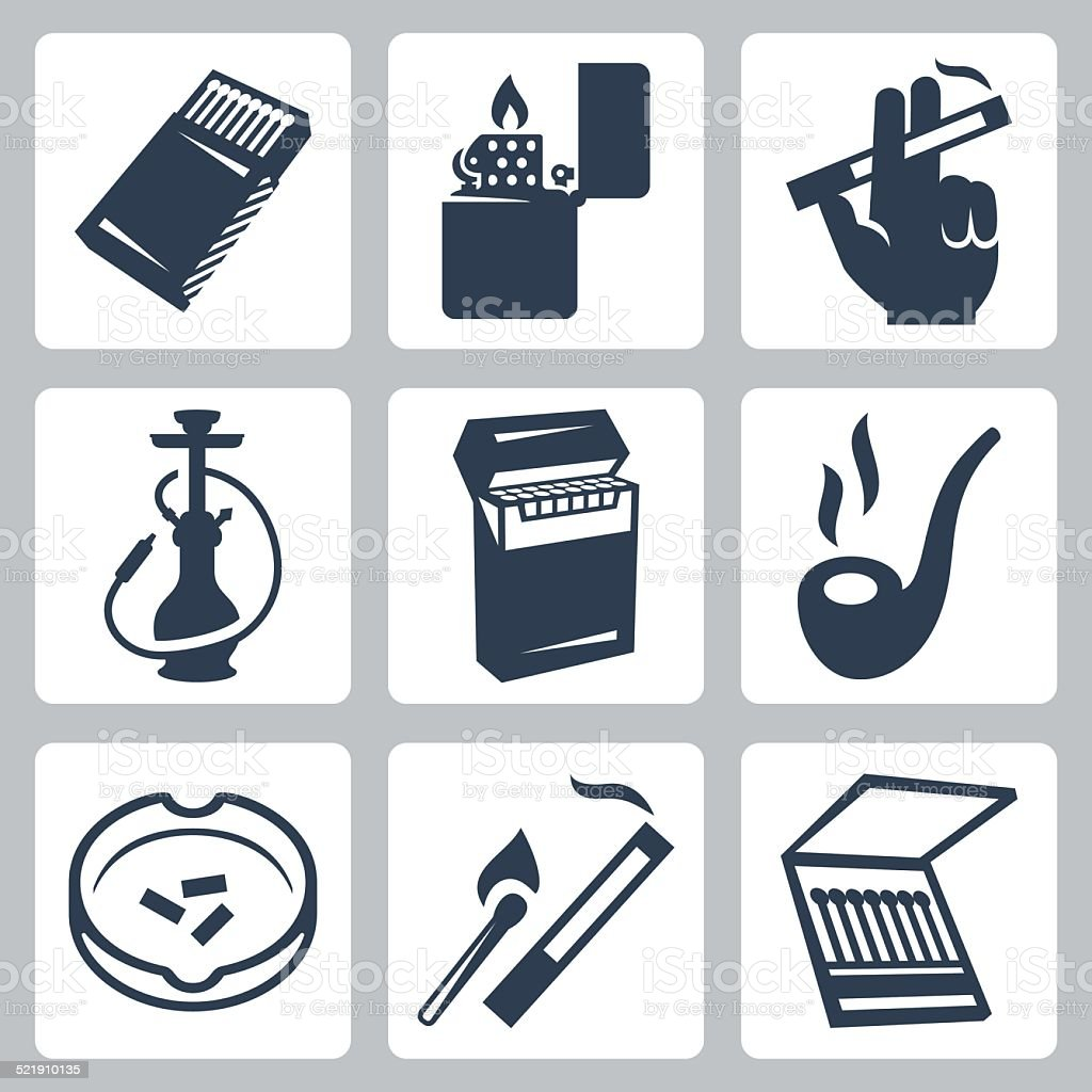 Smoking related vector icons set vector art illustration