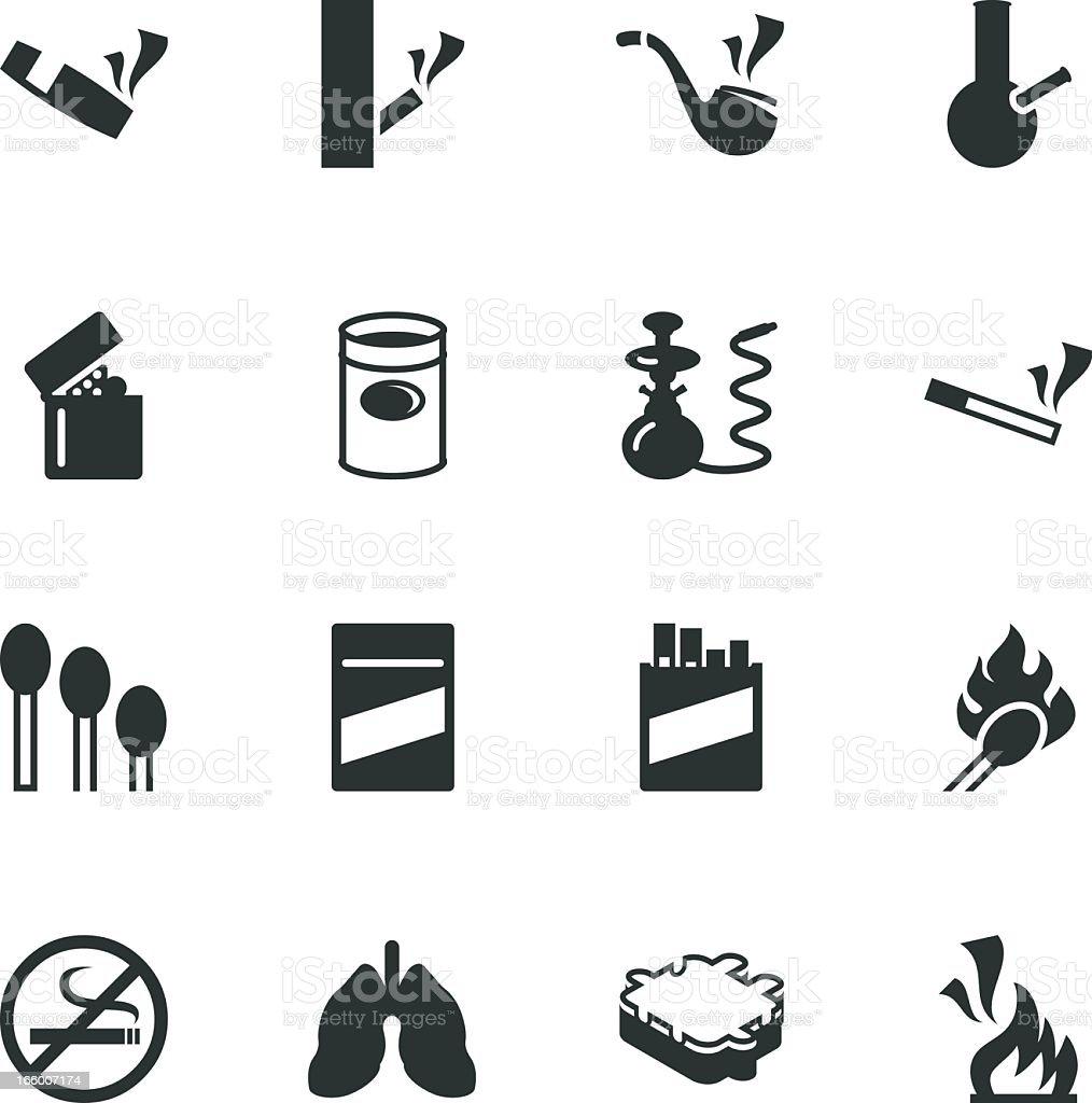 Smoking Silhouette Icons vector art illustration