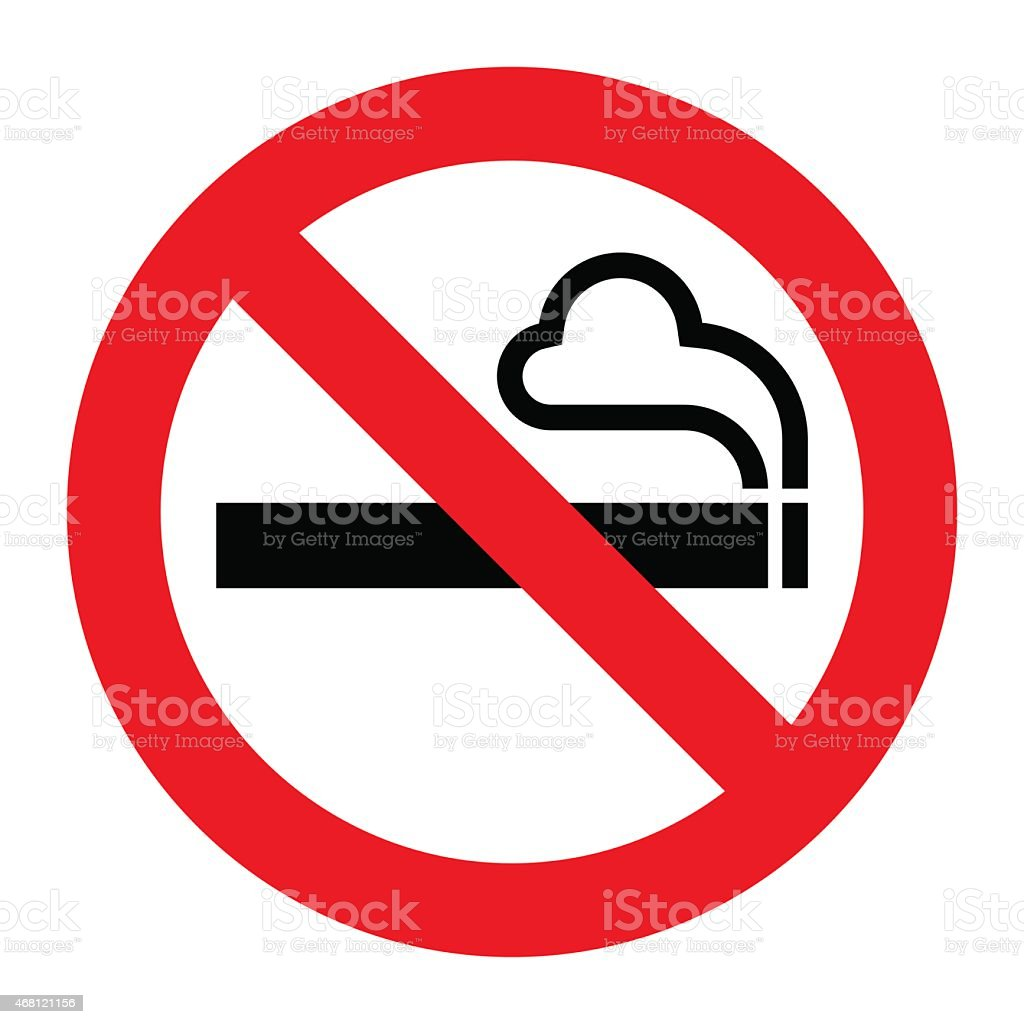 Smoking symbol with a no symbol on top vector art illustration