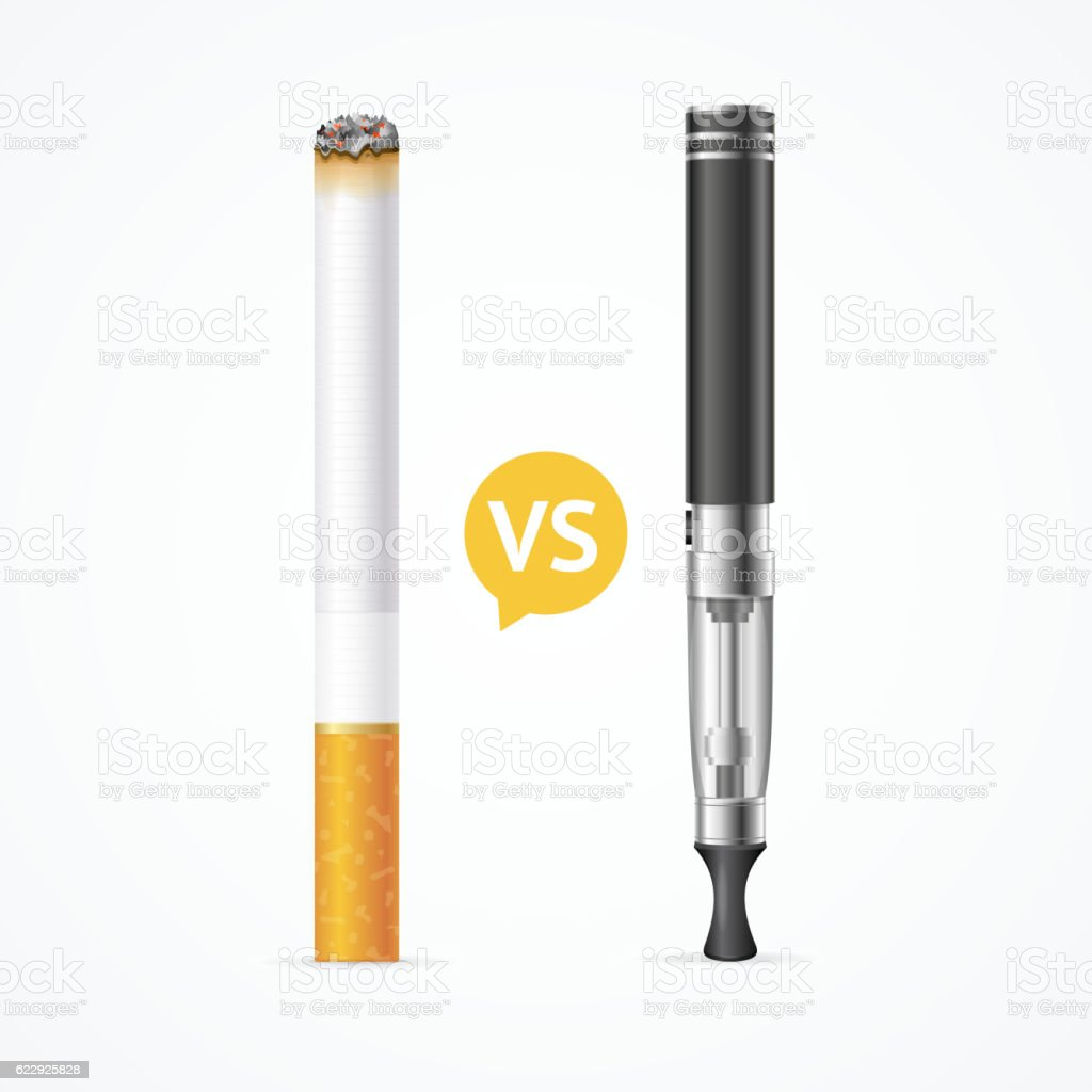 Smoking vs Vaping. Vector vector art illustration