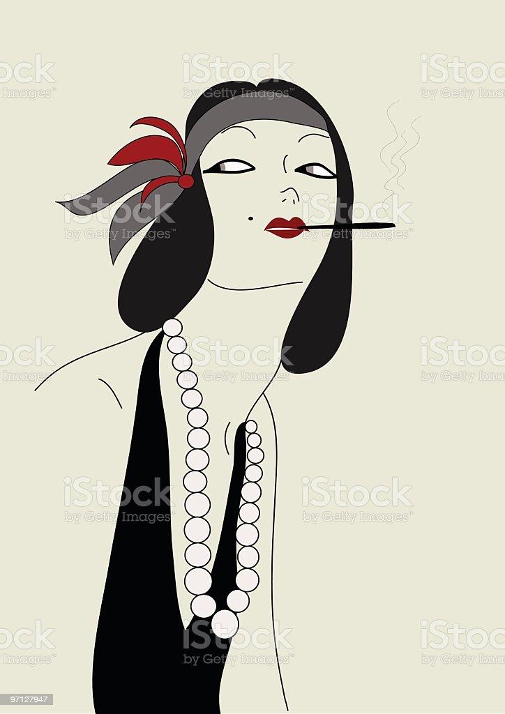 Smoking woman vector art illustration