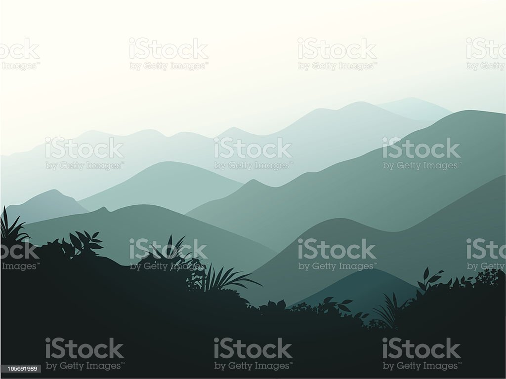 Smoky mountains vector art illustration