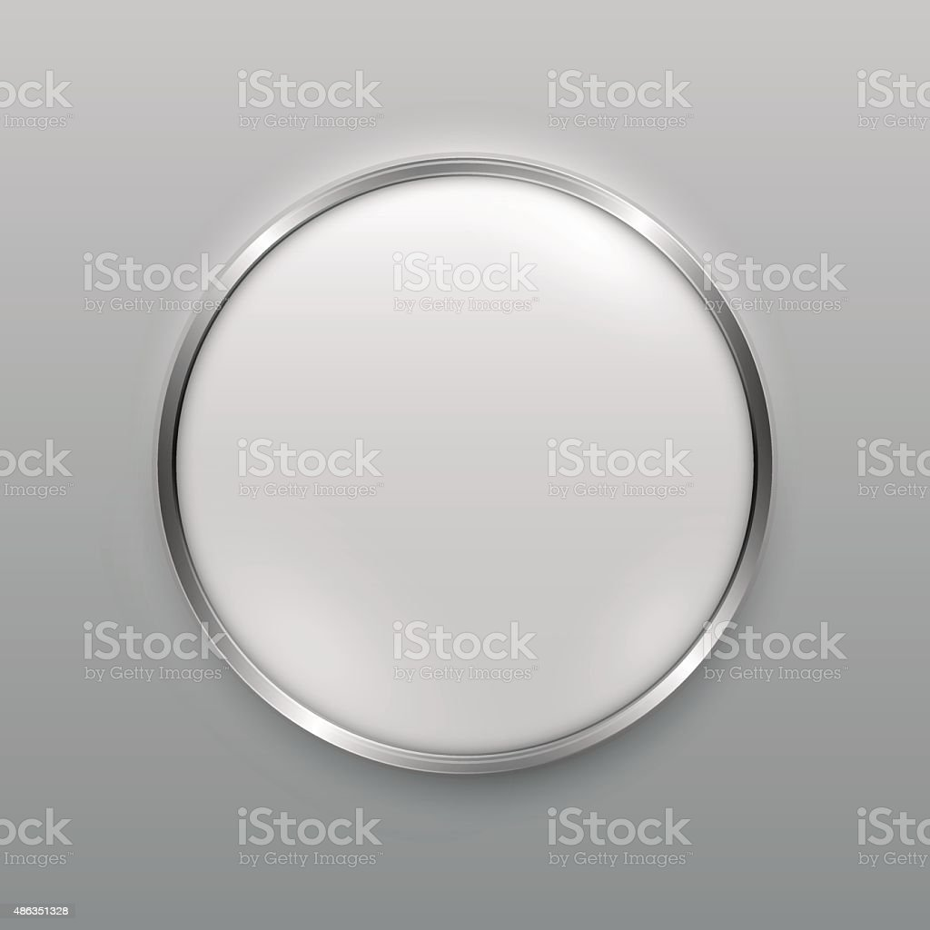 Smooth metal button vector art illustration