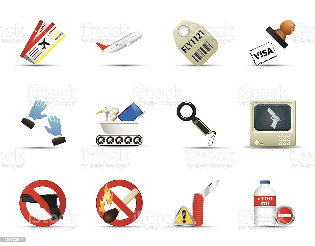 Smooth Silk Icon Set: Airport and Security royalty-free stock vector art