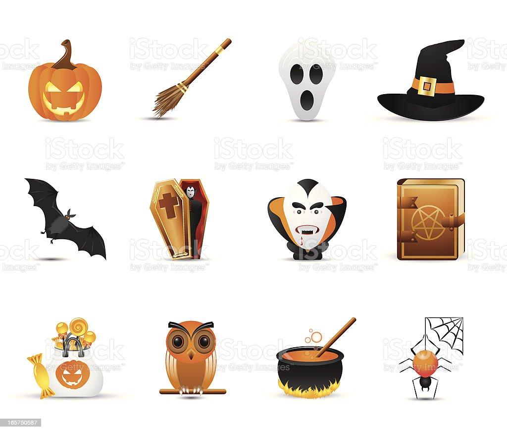 Smooth Silk Icon Set: Halloween vector art illustration