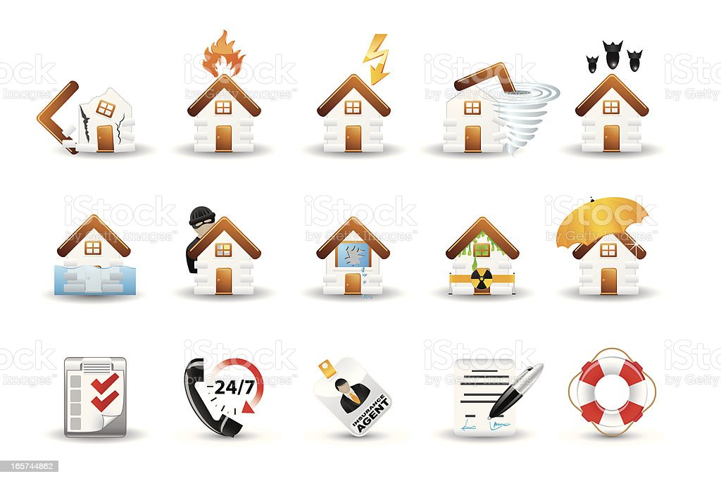 Smooth Silk Icon Set: Real Estate Insurance royalty-free stock vector art