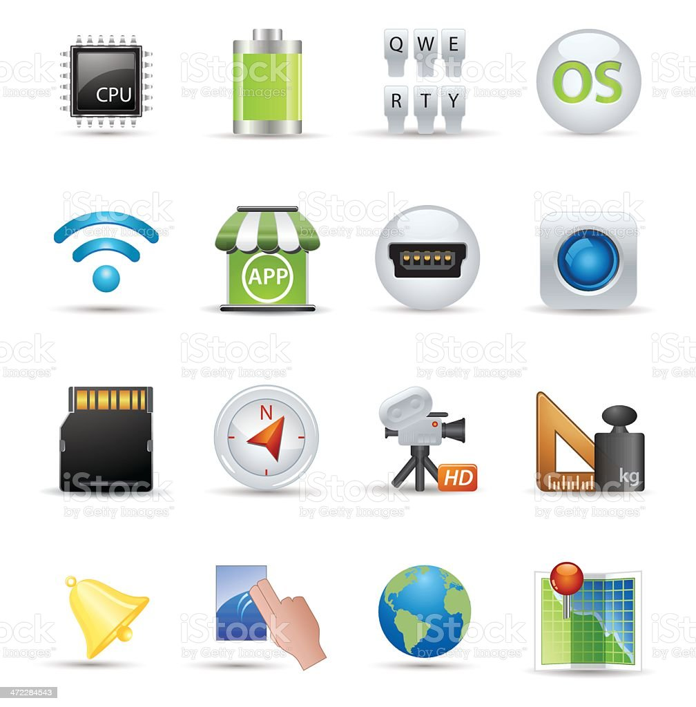 Smooth Silk Icons: Smart Phone Specifications royalty-free stock vector art