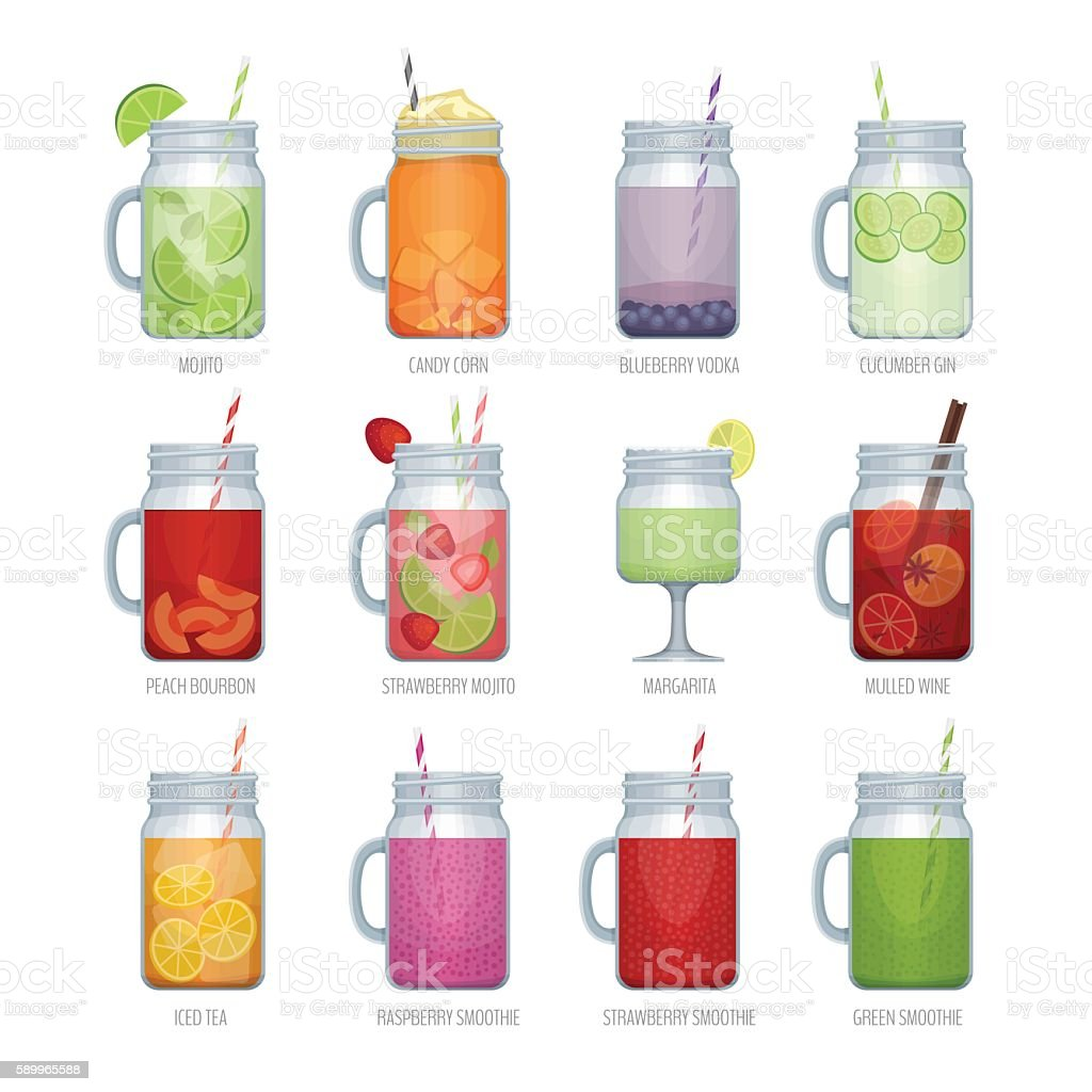 Smoothie in mason jar. vector art illustration