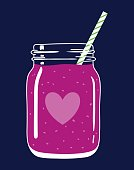 Smoothie in mason jar with straw and a heart.Vector illustration.
