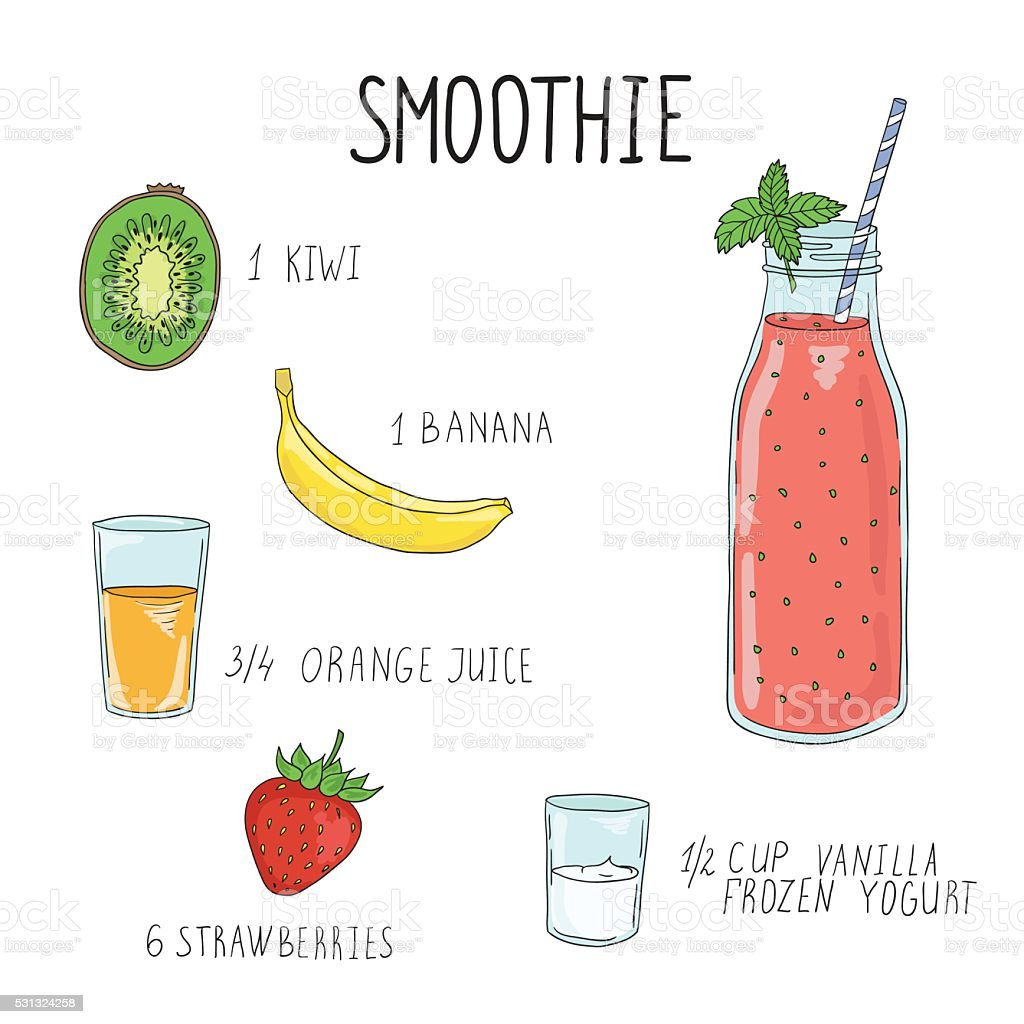 Smoothie recipe with a bottle and ingredients. Detox, healthy eating vector art illustration
