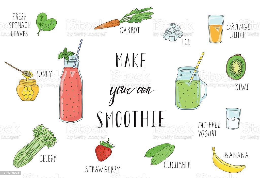 Smoothie recipe with a bottle and ingredients. Detox, healthy eating. vector art illustration