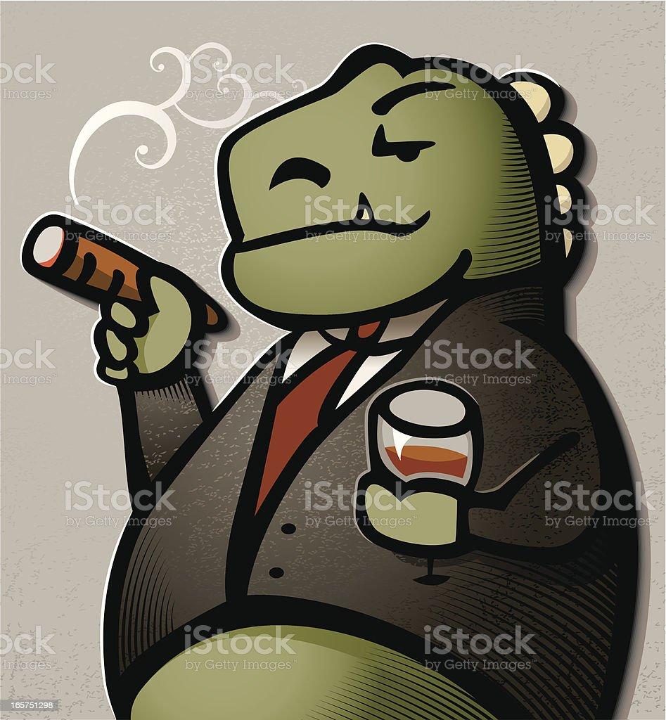 Smug Business Dinosaur vector art illustration