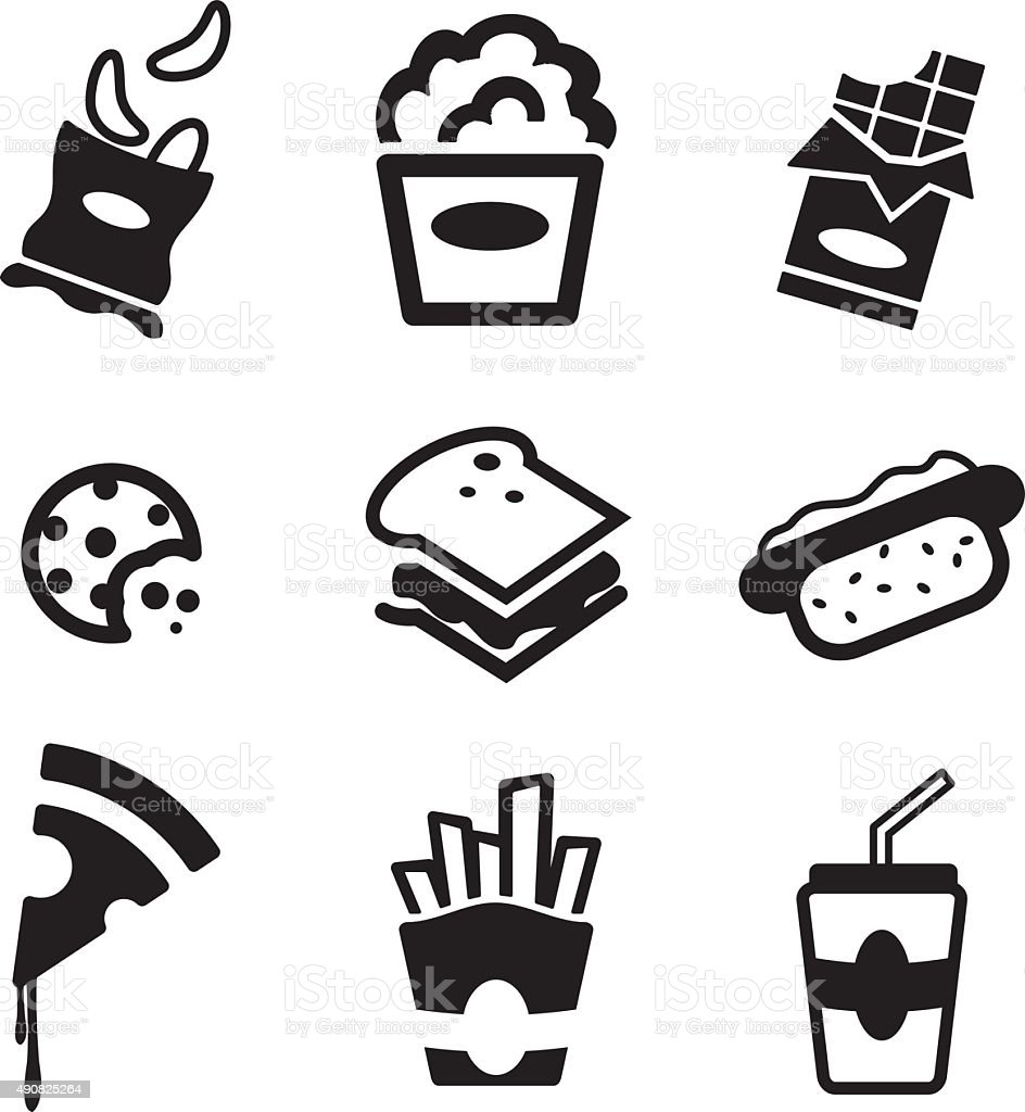 Snack Icons vector art illustration
