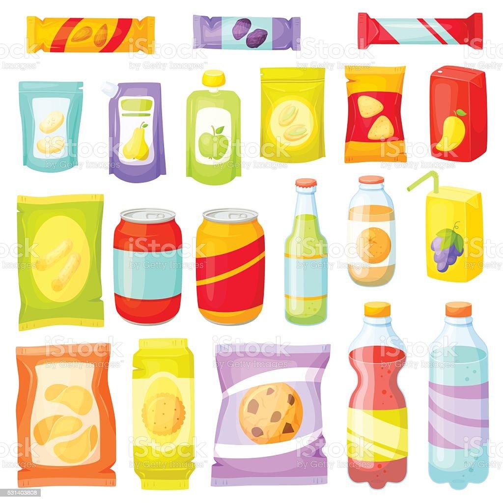 Snack pack set vector art illustration