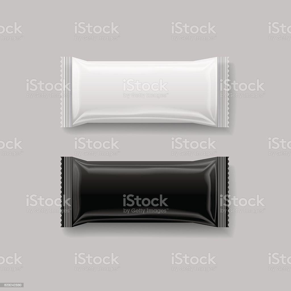 snack package black & white , 3 d ,vector illustration vector art illustration