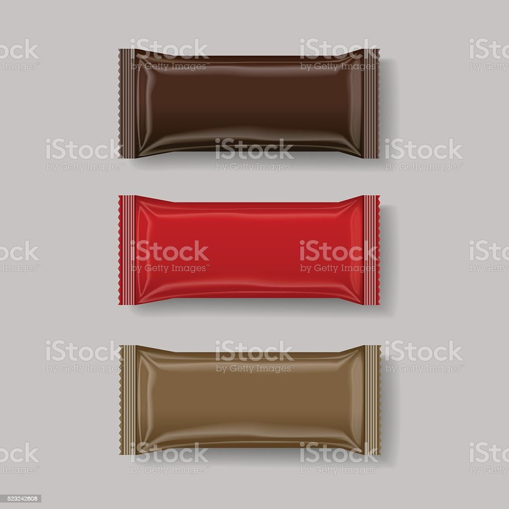 snack package brown & red, 3 d ,vector illustration vector art illustration