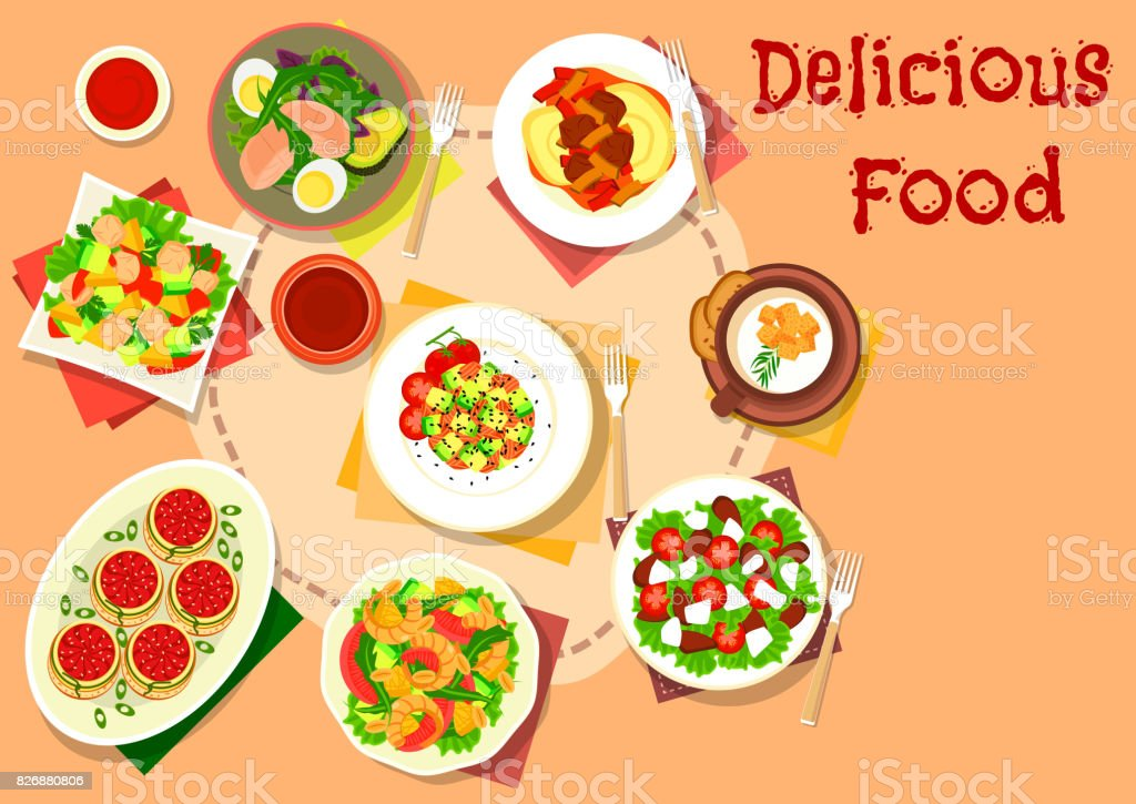 Snack, salad dishes icon for healthy food design vector art illustration