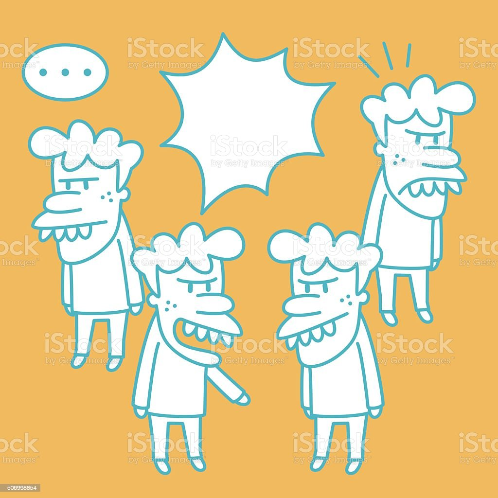 Snaggletooth man Doodle Emotion, Talking, Angry, Arguing. vector art illustration