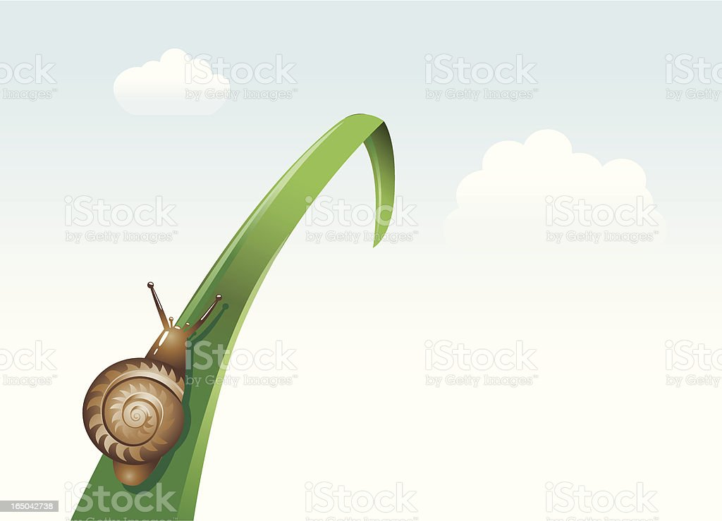 Snail climbing up a leaf royalty-free stock vector art
