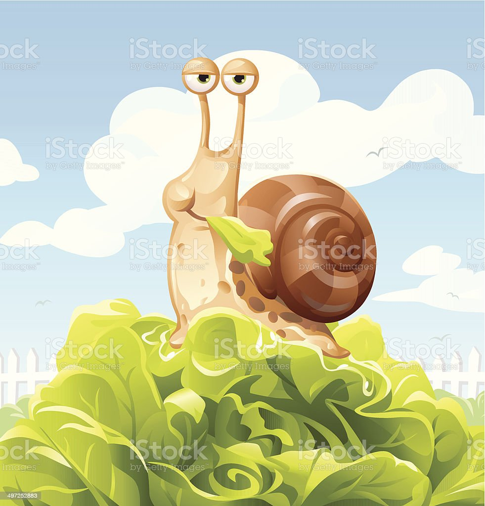 Snail Eating Salad royalty-free stock vector art