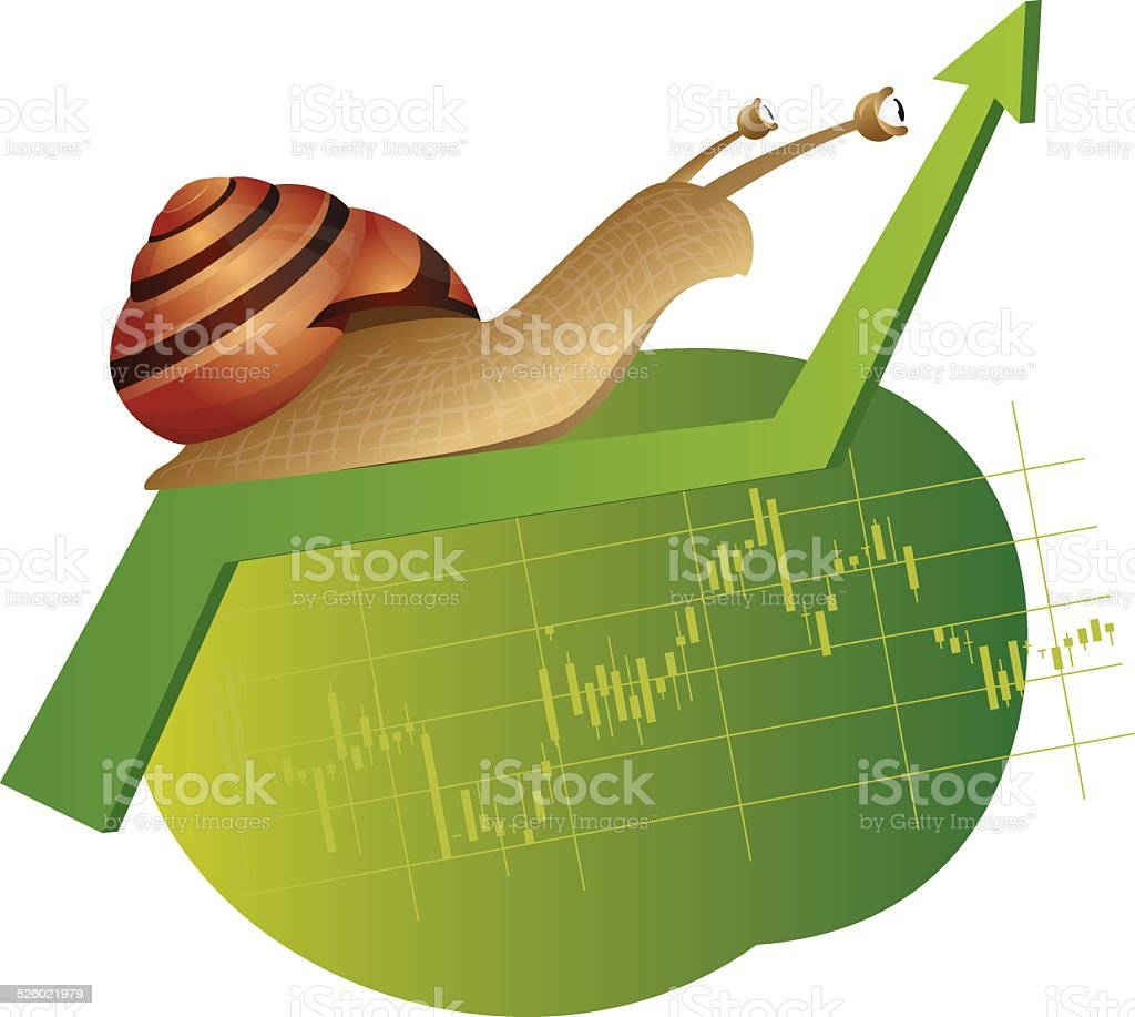 Snail is on a rising chart vector art illustration
