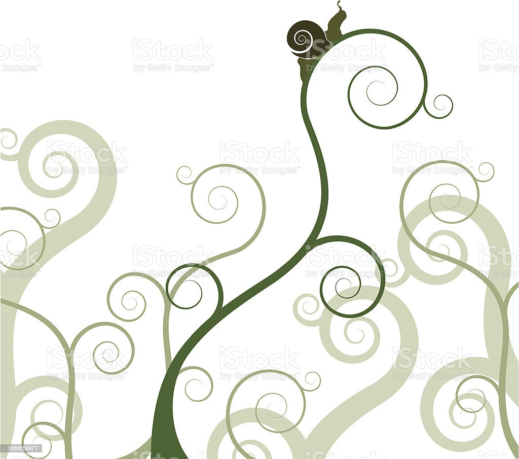 Snail on a plant royalty-free stock vector art