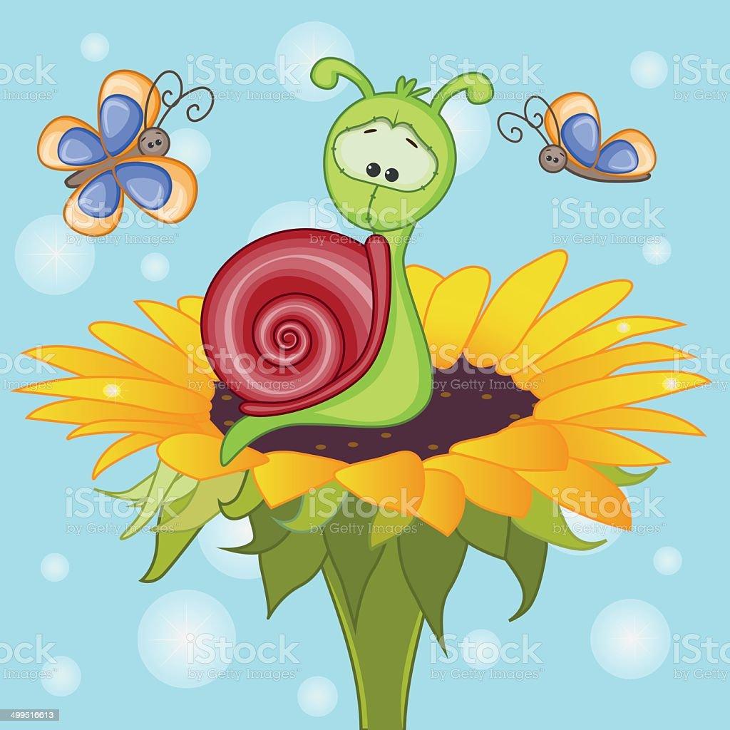 Snail on the flower vector art illustration