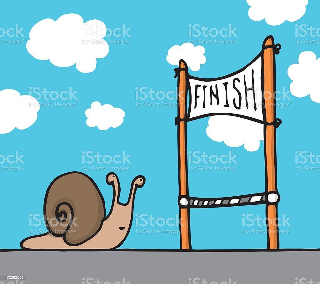 Snail reaching his goal royalty-free stock vector art