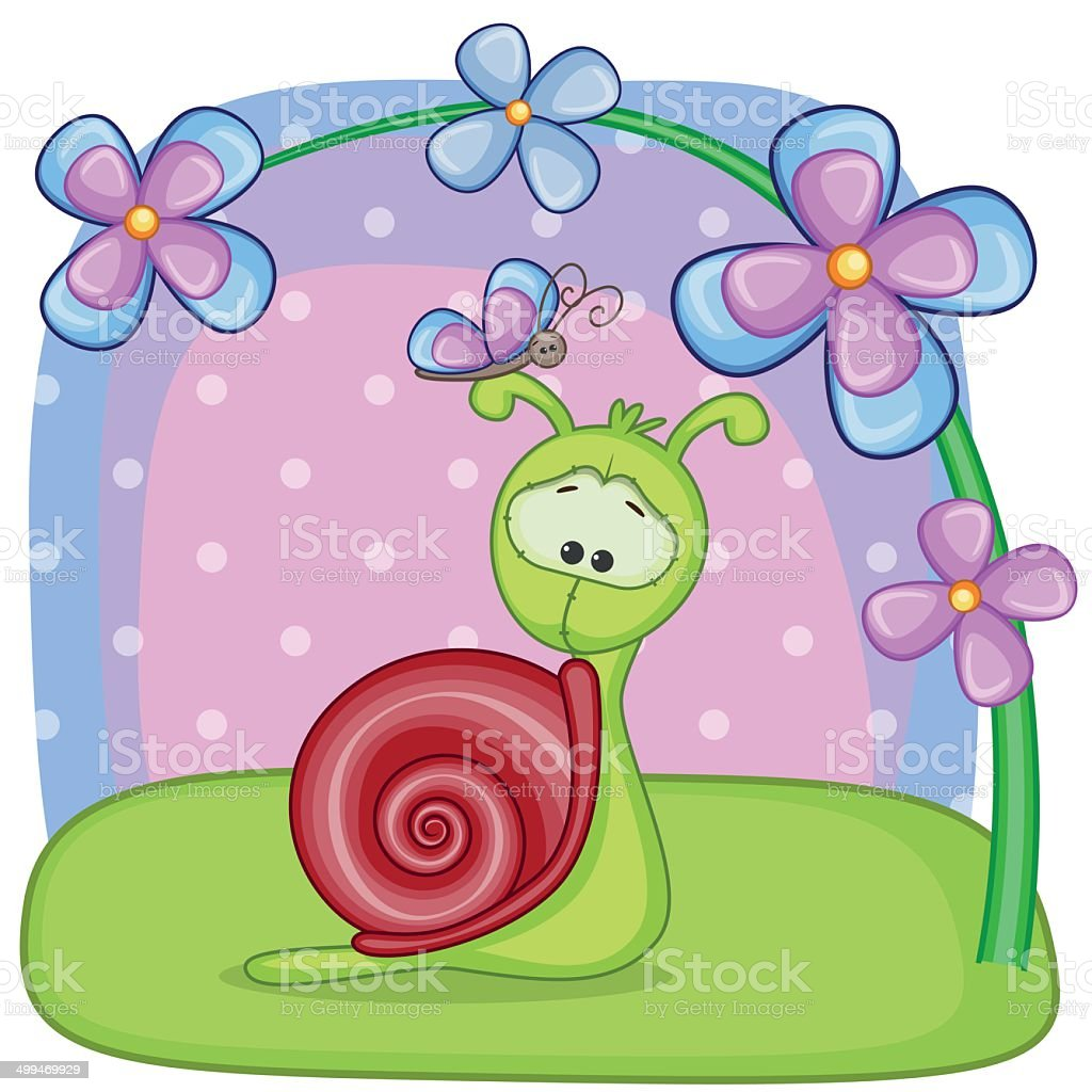 Snail with flowers vector art illustration
