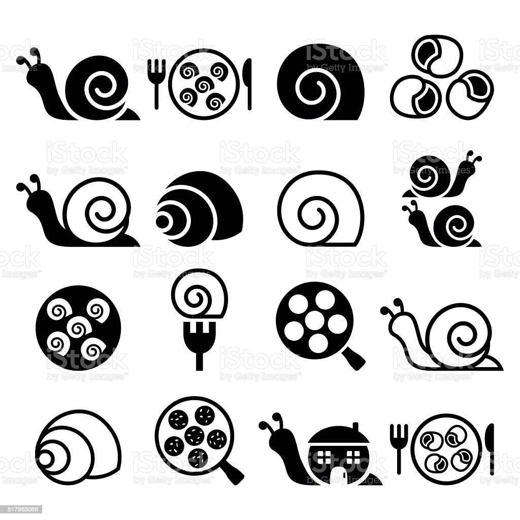Snails, French snail meal - escargot icons set vector art illustration