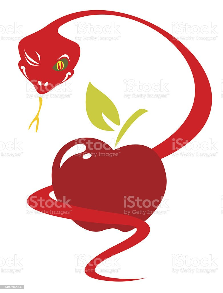 snake and apple royalty-free stock vector art