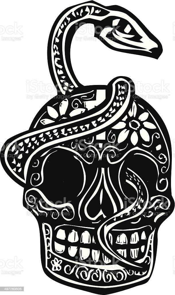 Snake and Skull vector art illustration