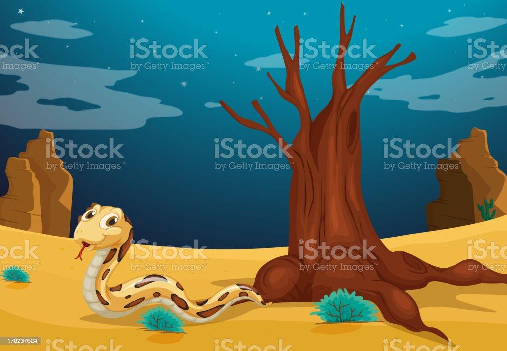 Snake at the desert royalty-free stock vector art