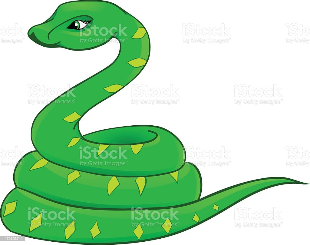snake cartoon with isolation on a white background royalty-free stock vector art