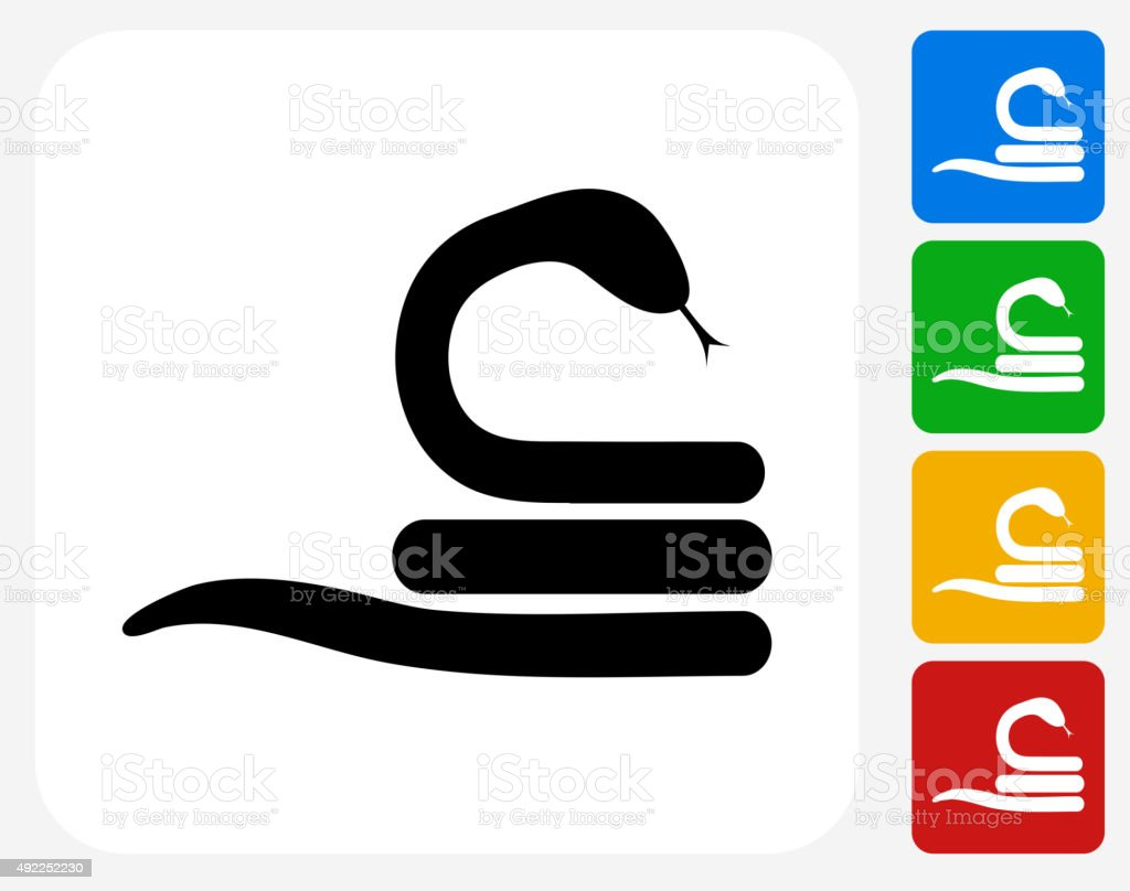 Snake Icon Flat Graphic Design vector art illustration
