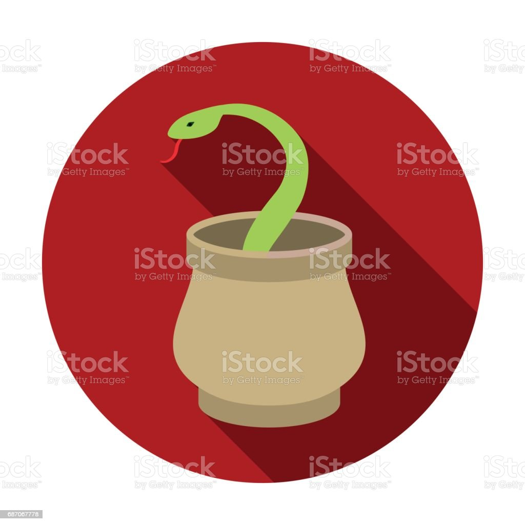 Snake in basket icon in flat style isolated on white background. Arab Emirates symbol stock vector illustration. vector art illustration