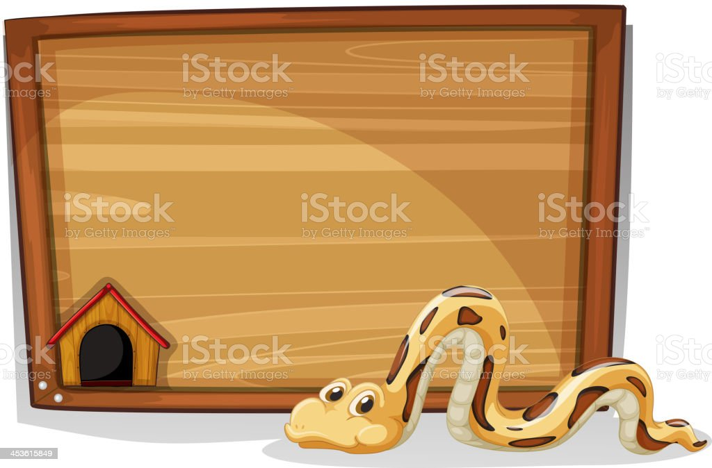 snake in front of a wooden board royalty-free stock vector art