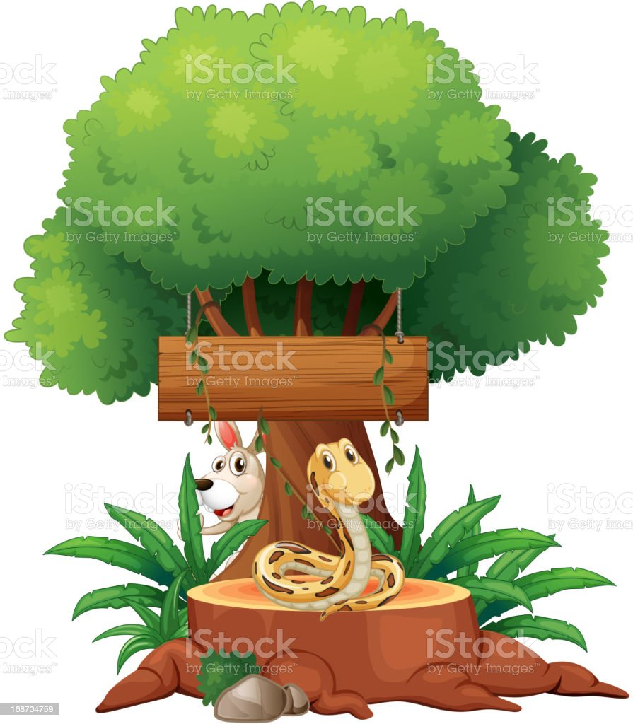 snake in front of an empty wooden signboard royalty-free stock vector art