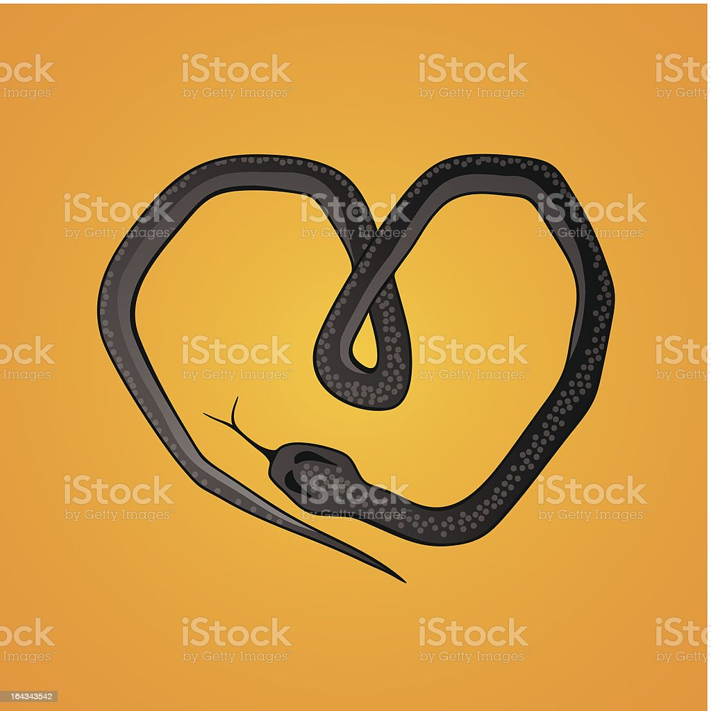 snake in the form of a heart royalty-free stock vector art
