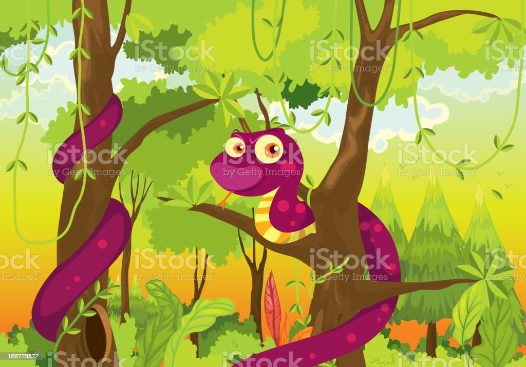 Snake in the jungle royalty-free stock vector art