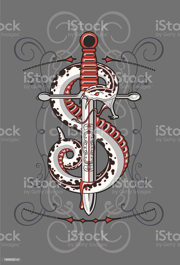 snake knife vector art illustration
