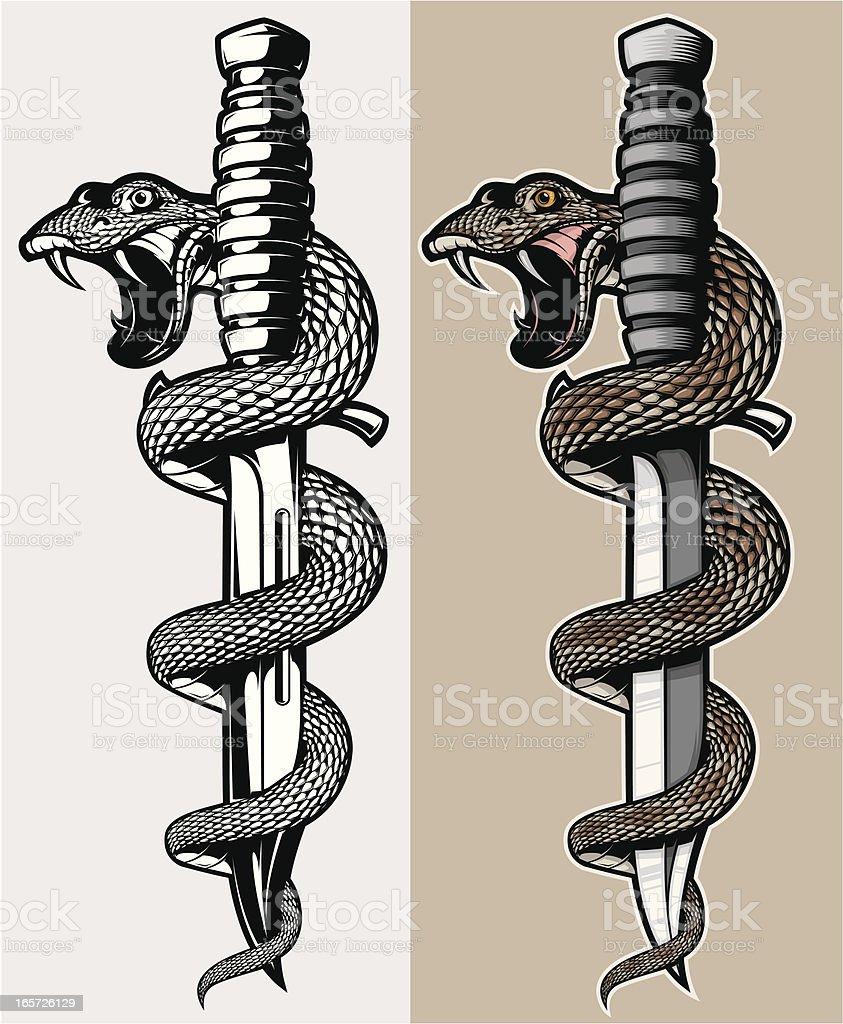 snake & knife vector art illustration